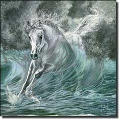 Artwork On Tile - Ceramic Tile Mural Backsplash, Poseidon's Gift by Kim McElroy, - Tile Murals Fantasy, Animal Art, Fine Art, Horse Animation, Fantasy Art, Painting, Animation, Art, Pictures