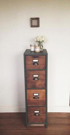 How easy would it be to line the front of drawers with wood grain printed contact paper? I think Ive seen some at Dollar Tree Antique File Cabinet - Filing Cabinets - Ideas of Filing Cabinets Large Furniture, Diy Furniture, Furniture Outlet, Furniture Repair, Furniture Stores, Rattan Furniture, Luxury Furniture, Office Furniture, Bedroom Furniture