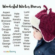 Winter names; baby names Pretty Names, Cute Baby Names, Unique Baby Names, Baby Girl Names, Kid Names, Book Writing Tips, Writing Words, Writing Prompts, Name Inspiration