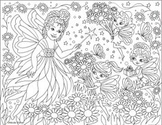 fairy flowers coloring page