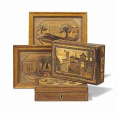 A PAIR OF MARQUETERIE DE PAILLE WORK BOXES, 19TH CENTURY Each with a fitted interior; together with two straw-work pictures, each depicting an urban scene
