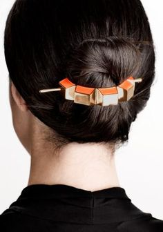 Metal barrette Orange Neon Other Stories