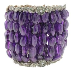Luise Diamonds Emeralds Rubies Pearls Amethyst Bracelet | From a unique collection of vintage retro bracelets at https://www.1stdibs.com/jewelry/bracelets/retro-bracelets/