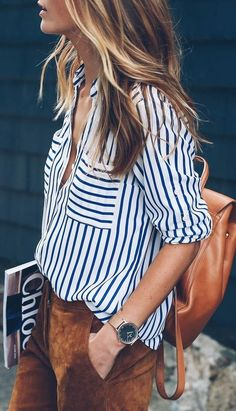 stripe blouse. suede trousers.
