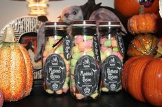 Poison marshmallows for Halloween took a clean frappacino bottle and made personalized labels and added mini marshmallows to fill