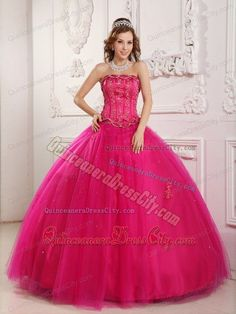 d6007d57e3f Wholesale Hot Pink Appliqued Sweet Sixteen Quinceanera Dresses