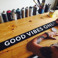 I'm working on a series of super rad signs for your home/space including this Good Vibes Only sign. #handlettering #lettering #handpaintedsign #goodvibes #goodvibesonly #positivevibrations #homedecor #stpete #ilovestpete #goodvibestribe