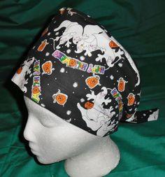 Halloween Scrubs Scrub Caps Pixie Hat Fun Surgical Hats OR Cap Hospital Hats HAPPY HALLOWEEN