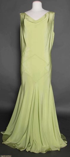 Mint Green Evening Gown, 1930s. | vintage 30s dress | evening fashion style