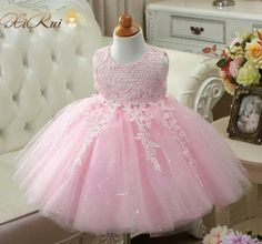 New arrival baby girls fashion sequin wedding dress flower pink / white tutu dre … Lace Christening Gowns, Baptism Dress, Girls Lace Dress, Little Girl Dresses, Girls Dresses, Dress Flower, Flower Girl Dresses, Princess Dresses, Wedding Dresses With Flowers