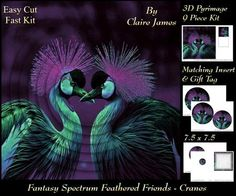 Fantasy Spectrum Birds Beautiful Cranes Heart Tag  on Craftsuprint - Add To Basket!