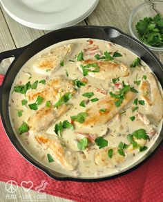Chicken and Mushrooms with Roasted Red Pepper Alfredo Sauce - Low Carb, Gluten Free   Peace Love and Low Carb