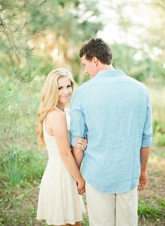 Love how natural this is. Me in light pink/cream. Him in light blue. sweet Florida Engagement // Kristen + Jordan - Coastal Bride