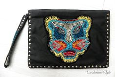 Zara sold out Studded leather clutch bag with applique tiger face Fashion Bloggers favourite