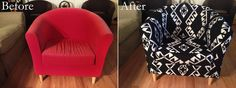 My husband reupholstered our old Ikea Tullsta chair! We bought the fabric at Home Fabrics in Downtown Los Angeles and he just googled how to's on many different sites to learn how to sew and reupholster (he had zero previous experience with either)! #chair #cover #reupholster #remodel #ikea #tullsta