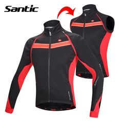 Santic Men's Winter Cycling Jacket Removable Sleeve Cycling Vest Windproof Fleece Thermal MTB Bicycle Bike Jacket Cycle Clothing