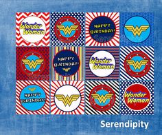 Wonder Woman Cupcake Toppers DIY INSTANT by SerendipityPlanning, $2.95