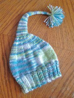 Knitting PATTERN: Baby Elf Hat with Pom Pom