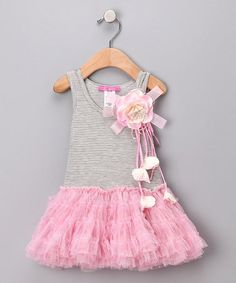 Take a look at this Pink & Gray Tutu Dress - Infant, Toddler & Girls  by Little Mass on #zulily today!