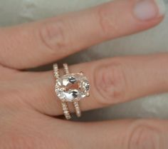 Omg it's HUGE and gorgeous! 4.70 Ct. Oval Cut Morganite & Diamond Engagement by AnyeJewelry