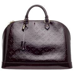 Pre-owned Louis Vuitton Alma Monogram Vernis GM ($1,805) ❤ liked on Polyvore featuring bags, handbags, handbags and purses, top handle bags, satchel handbags, louis vuitton handbags, purple purse, dome satchel and top handle bag