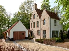 Custom Built Homes Vernacular Architecture, Architecture Design, Brick Siding, Doll House Plans, Stucco Homes, Belgian Style, House Landscape, Custom Built Homes, Sims House