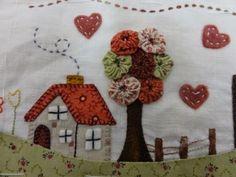 Aplique Wool Applique, Applique Patterns, Applique Quilts, Applique Designs, Embroidery Applique, Quilt Patterns, House Quilt Block, House Quilts, Small Quilts