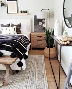 This Sophisticated Boho Bedroom Is a Texture Lover's Dream This boho-inspired . This Sophisticated Boho Bedroom Is a Texture Lover's Dream This boho-inspired bedroom nails the b Trendy Bedroom, Modern Bedroom, Master Bedroom, Contemporary Bedroom, Bedroom Neutral, Bedroom Black, Bedroom Boys, Master Suite, Large Bedroom
