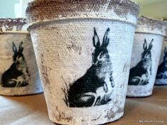 My Heart's Song: Treat Baskets for Easter made out of plant starter pots. Home, Barb thought of you when I saw this DIY! Spring Crafts, Holiday Crafts, Decoupage, Spring Party, Spring Wedding, Terracota, Festa Party, Hoppy Easter, Easter Bunny