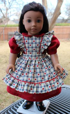 18 Doll Clothes Multi-Era Dress and Pinafore Set For