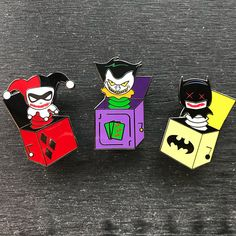 """Batman Pin Series - Bats In The Box 1.75"""" Hard Enamel Pin - Choice of: Batman, Joker, Harley Quinn"""