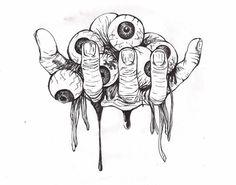 Hand of eyeballs tattoo project by Creepy Drawings, Dark Art Drawings, Creepy Art, Tattoo Drawings, Cool Drawings, Arte Horror, Horror Art, Stoner Art, Tattoo Project
