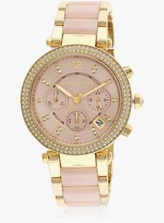 Michael Kors Parker Mk6326i Two Tone/Rose Gold Chronograph Watch #MichaelKors #RoseGold #ChronographWatch http://fancytemplestore.com