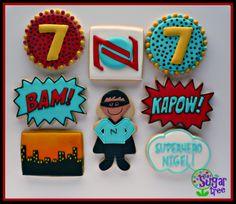 Superhero cookies with custom designed personalized logo #superhero #decoratedcookies