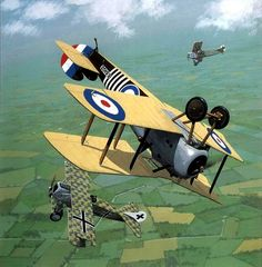 Sopwith Snipe duels with two Fokker DVIIs