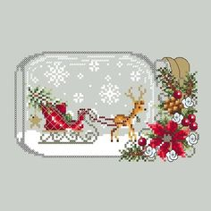 Punto De Cruz Sleigh Snowglobe - Christmas Deer Snow Globe cross stitch pattern by Shannon Wasilieff. An upside down mason jar houses this cute little deer and Christmas tree. Pattern stitch count is: by and uses DMC, Kreinik and Mill Hill beads. Xmas Cross Stitch, Cross Stitch Charts, Cross Stitch Designs, Cross Stitching, Cross Stitch Patterns, Loom Patterns, Learn Embroidery, Cross Stitch Embroidery, Embroidery Patterns