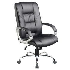 Executive PU Leather & Chrome Office Chair in Black | Buy Office Furniture