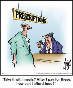 """Herman: """"take with meals? After I pay for these, how can I afford food?"""" LOL (I completely understand! Herman Cartoon, Herman Comic, Pharmacy Humor, Medical Humor, Pharmacy Quotes, Funny Cartoons, Funny Comics, Senior Humor, Laughter The Best Medicine"""