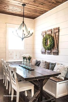 How to Build Simple and Inexpensive Rustic Shutters Dining Room Decor country dining room wall decor ideas Country Dining Rooms, Dining Room Wall Decor, Farmhouse Wall Decor, Dining Room Design, Room Decor, Farmhouse Design, Modern Farmhouse, Farmhouse Ideas, Kitchen Design