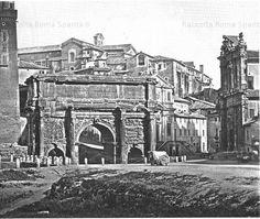 L'Arco di Settimio Severo, il Campidoglio, le chiese di S. Giuseppe dei Falegnami e dei Ss. Luca e Martina, visti dal Foro Romano. Anno: 1854 c.