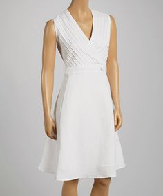Another great find on #zulily! White Button Surplice Dress - Women & Plus #zulilyfinds