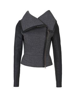 "A Sandy Nelson ""Burda-style"" Moto jacket. soft motorcycle cloth tight-fit jacket."