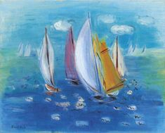 Artwork by Raoul Dufy, Régates des six mètres, Made of oil on canvas Oil Painting On Canvas, Painting Frames, Canvas Art, Abstract Landscape Painting, Landscape Paintings, Impressionist Paintings, Seascape Paintings, Landscape Art, Van Gogh