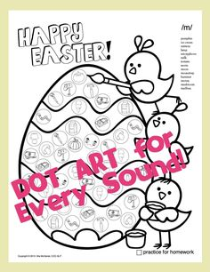 """26 dot art pages with small pictures representing specific target sounds in each little circle- Easter style!! Every phoneme has its very own page! {/p/, /b/, /t/, /d/, /k/, /g/, /f/, /v/, /h/, /j/, /w/, /m/, /n/, """"sh,"""" """"ch,"""" """" j,"""" /l/, /l/ blends, /s/, /z/, /s/ blends, /r/, vocalic r, variations of vocalic r, """"th"""" and /r/ blends }"""