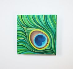 Reserved 6 x 6 Original Acrylic Abstract Peacock by MegzArt