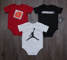 Air Jordan Baby Boy 3 Piece Bodysuit Set ~ Red, Black, White & Orange ~ Jumpman #Jordan #BabyBoy #Jumpman