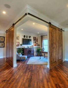 corner office or study area with double sliding barn doors, by Shumacher Homes. corner office or study area with double sliding barn doors, by Shumacher Homes. The barn house is. Deco Design, Design Case, Study Design, Decoration Design, Design Design, Style At Home, Double Sliding Barn Doors, Doors And Floors, Sweet Home