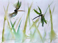 Dragonflies on Grass original watercolour painting by Rine Philbin Art Christmas Gifts, Bird Artists, Irish Landscape, Watercolour Painting, Watercolours, Irish Art, Lilac Flowers, Flower Vases, Grass