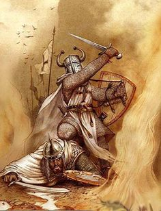 A highly stylized if not fantastical image depicting a Teutonic knight about to slay a fallen Saracen.
