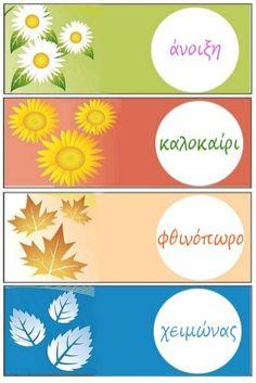 Οι 4 εποχές και οι μήνες-Διακόσμηση τάξης Month Weather, Weather For Kids, Weather Seasons, Teaching English, Mosaic Art, Four Seasons, Projects To Try, Clip Art, Classroom